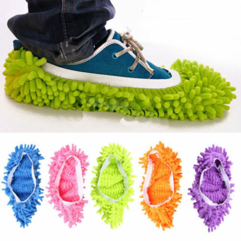 New 5 Colors 1 /2 Pcs Microfiber Dust Mop Slipper House Cleaner Lazy Floor Dusting Cleaning Foot Shoe Cover Dust Mop(China (Mainland))