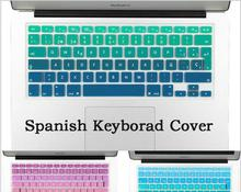 Euro Spanish Font water Dust proof keyboard cover for macbook air 13 protector Gradual change colors pro 13 15 retina
