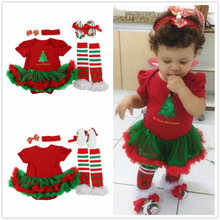 Newborn Baby girl clothes Green tree Christmas Short Red Romper Tutu Dress+ Shoes+Socks+Headband 4pcs/sets Infant girl clothes