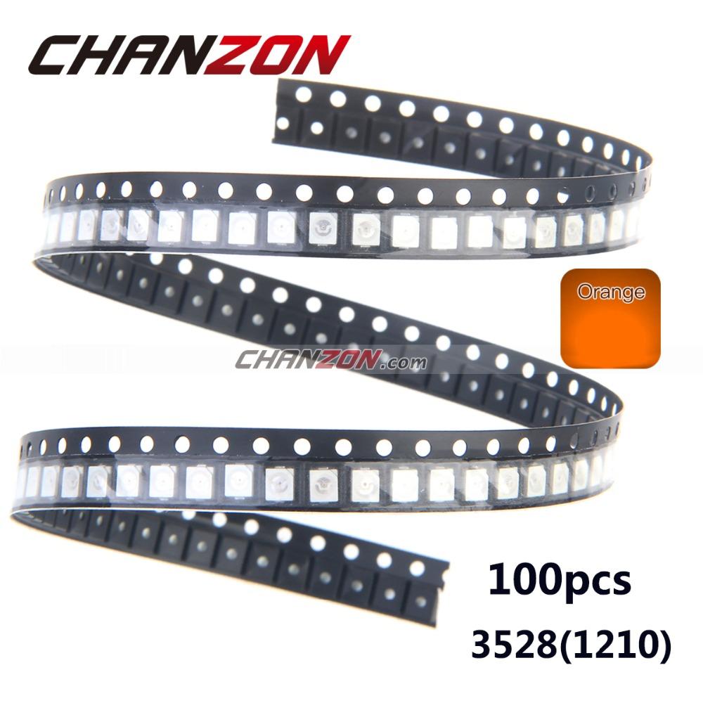 100pcs 1210 SMD Chip LED 3528 Orange Super Bright LED Light Emitting Diode Lamp SMT Surface Mount LED Bead(China (Mainland))