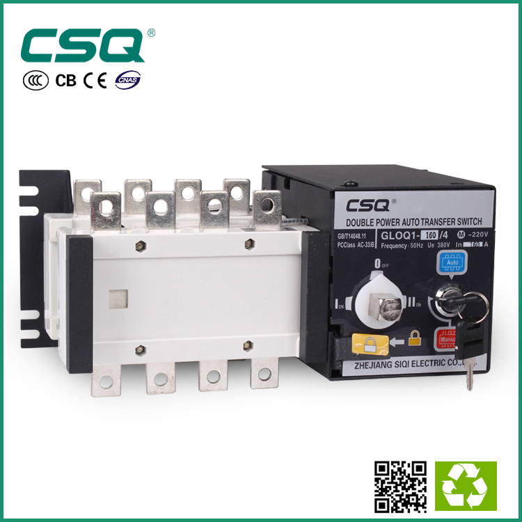 GLOQ1 3 phase dual power ats automatic transfer change over switch 220v 4p 160A(China (Mainland))