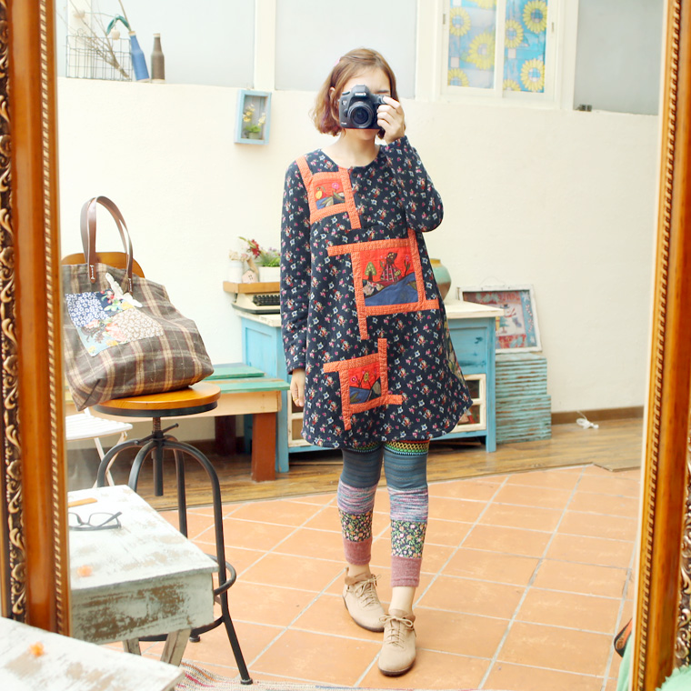 2015 new mori girl autumn and winter small embroidery flower quilt patchwork long-sleeve cotton-padded one-piece dress top Одежда и ак�е��уары<br><br><br>Aliexpress