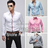 New Korean Fashion Stylish Casual shirts Slim Fit Long Sleeve Men's Shirt Tops 4 Color 4 Size Free shipping 5183