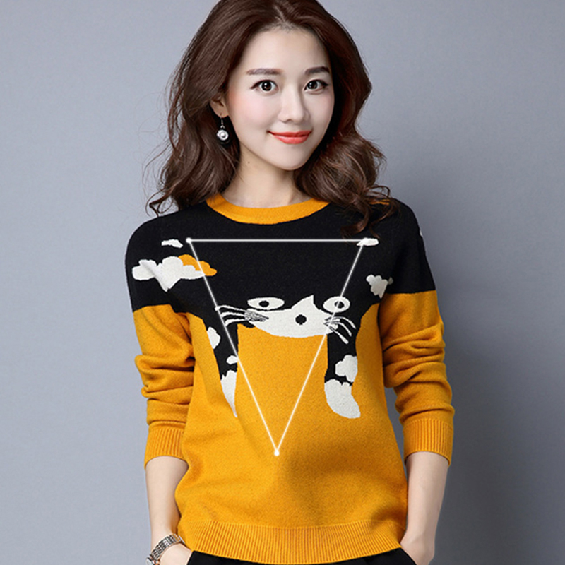 2016 Autumn Korean Version Solid Color Round Neck Pullover Kitten Fashion Sweater Loose Long-Sleeved Shirt Bottoming S65 Z45(China (Mainland))
