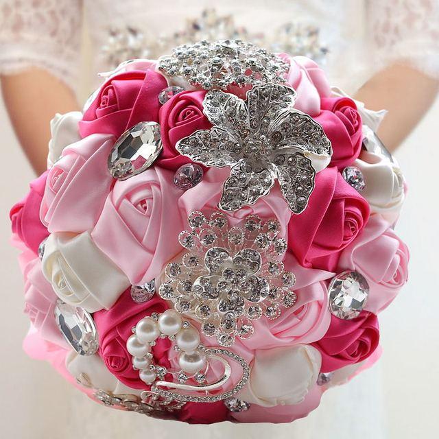 Новый романтический шелковой лентой роза искусственный свадебные цветы свадебный ...