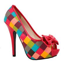 LF30472 Sexy Multi-Coloured Check Tartan Bow Platform Stiletto Shoes Size 4/5/6/7/8/9/10