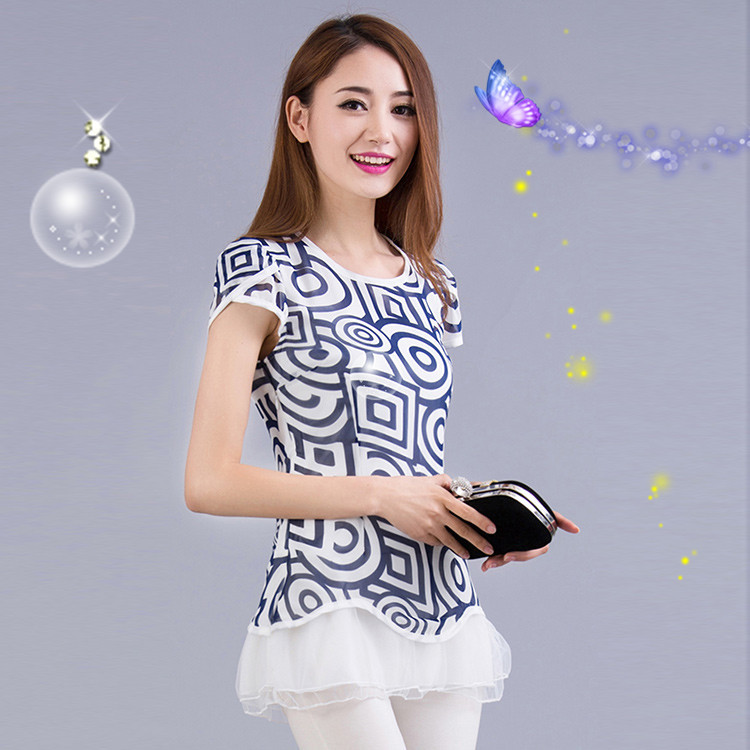 B15060830 Women Blouse geometry printed chiffon unlined upper garment ms summer clothing Increase the size easy leisure fashion(China (Mainland))