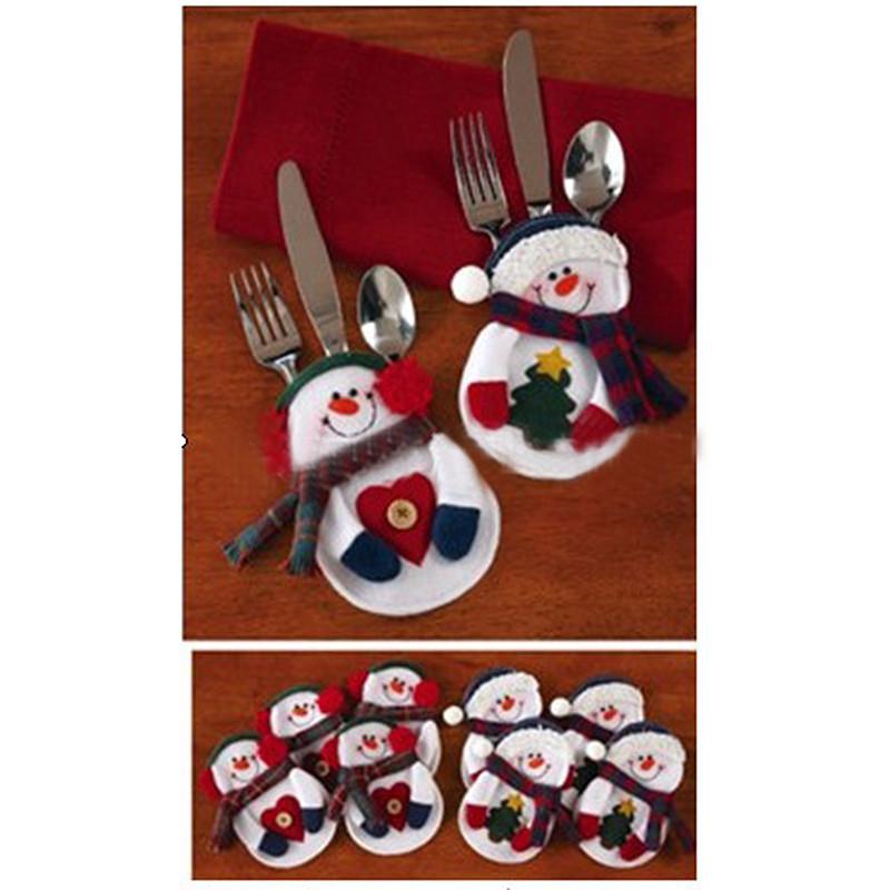 10 Pcs fantasia decorações do natal de Santa titulares bolsos de talheres Dinner Table Decor estilo aleatório frete grátis