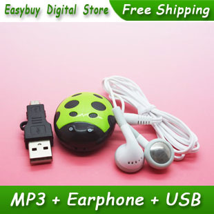 Hot Sell 1 pcs/lot New Style High Quality Mini Cute Beatles Shaped MP3 Music Player Gift MP3 Players With Earphone&Mini USB(China (Mainland))