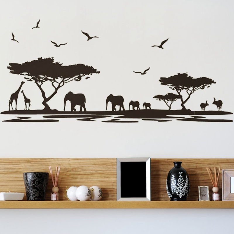 2015 New Arrival Waterproof <font><b>African</b></font> Animal Tree DIY Wallpaper Wall Sticker Art Decal Mural Removable 0 * 90cm <font><b>Home</b></font> <font><b>Decor</b></font>