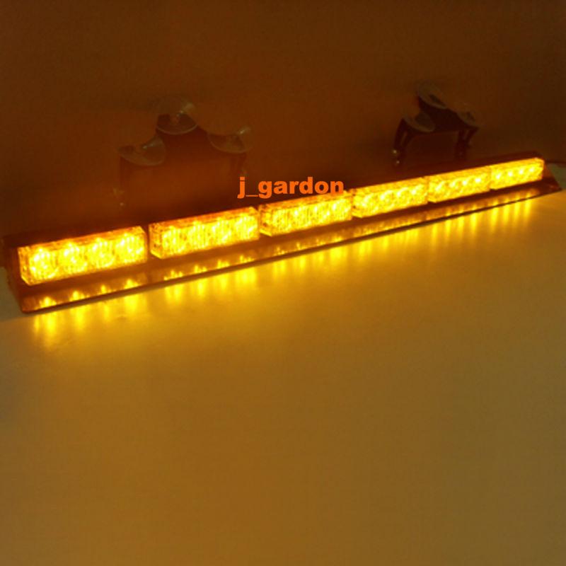 6 Modules 24 LED 1W Light Car Truck Emergency Beacon Light Bar Hazard Strobe Warning Windshield Strobe LightBar Amber(China (Mainland))