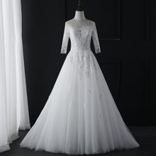 Nova moda simples 2018 vestidos de casamento renda três quartos manga o pescoço elegante plus size vestido de noiva q(China)