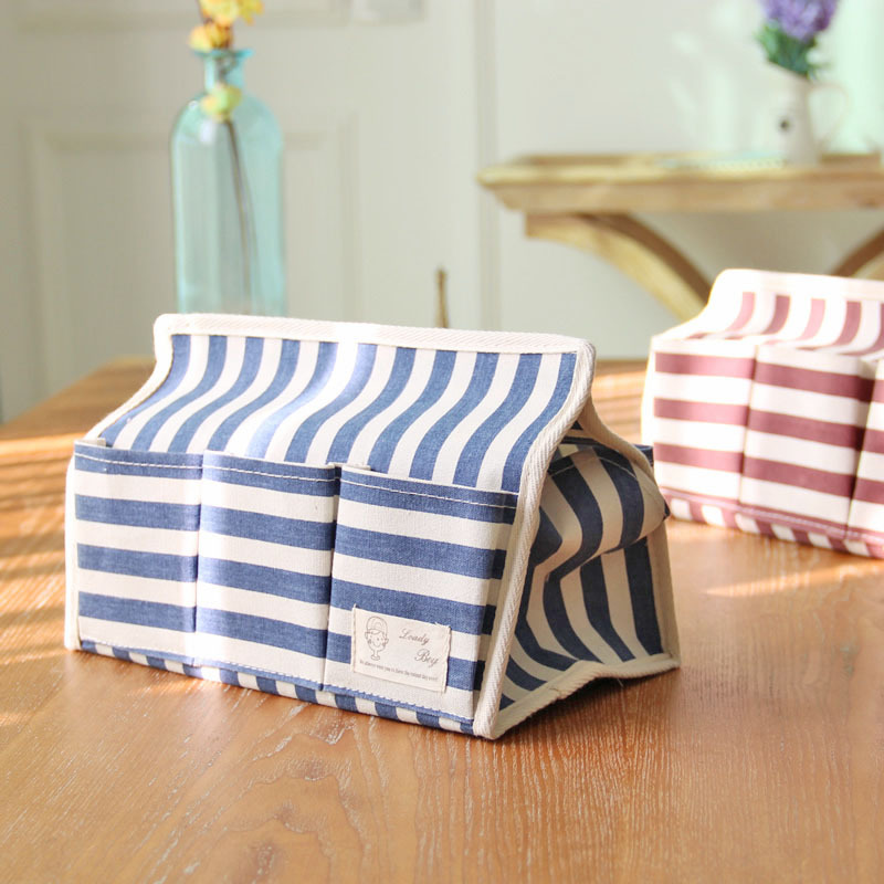 Cotton and Linen Cloth Art Multi-functional Waterproof Boxes Tissue Box 6 Pocket Stripe Creative Paper Bags(China (Mainland))