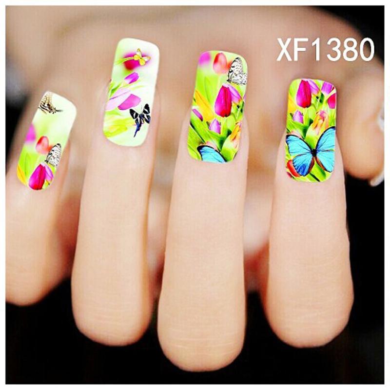 2016 Fashion Sticker1 sheet 3D Nail Sticker XF1380 Manicure Stickers Polish Nails Decal Beauty Nail Art DecoratIon(China (Mainland))