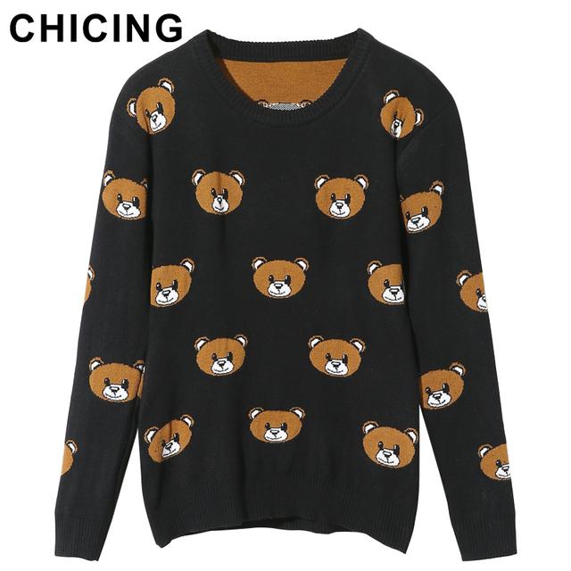 Chicing 2015 стильный милый мультфильм медведь уютный вязаный свитер о-образным вырезом ...
