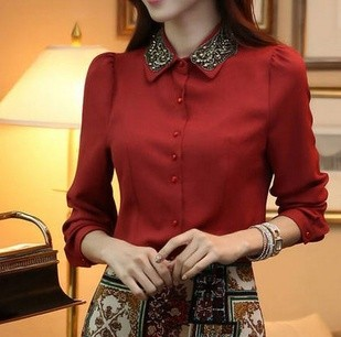 Ladies Embroidery Appliques Office Shirts Wine Red Black Women 2015 New Chiffon Blouse Spring Winter Plus size renda income(China (Mainland))