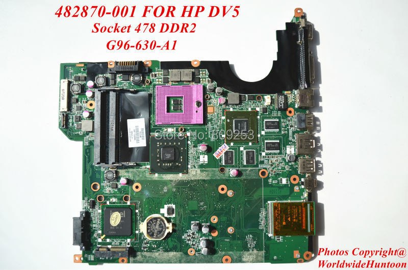 Original laptop motherboard for HP DV5 482870-001 socket 478 DDR2 G98-630-A1 fully tested and free shipping(China (Mainland))