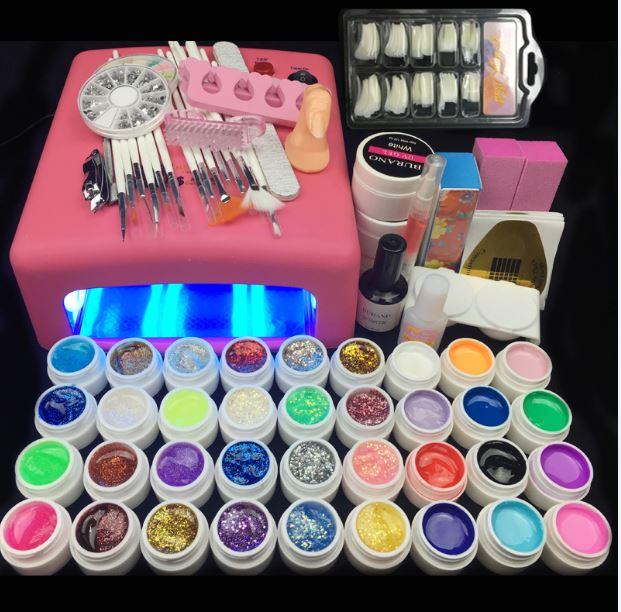 Burano 36W UV Lamp & 36 Colors UV Gel Nail polish Art Tools polish nail Set Kit building gel manicure set a seto of tools(China (Mainland))