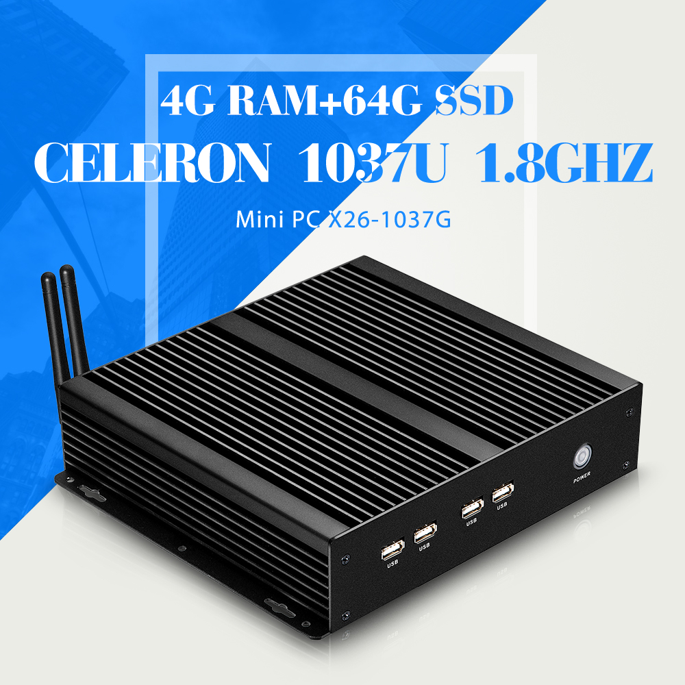 industrial pc Mini Computer station fanless industrial C1037U 4G RAM+64G SSD+WIFI thin client support HD video(China (Mainland))