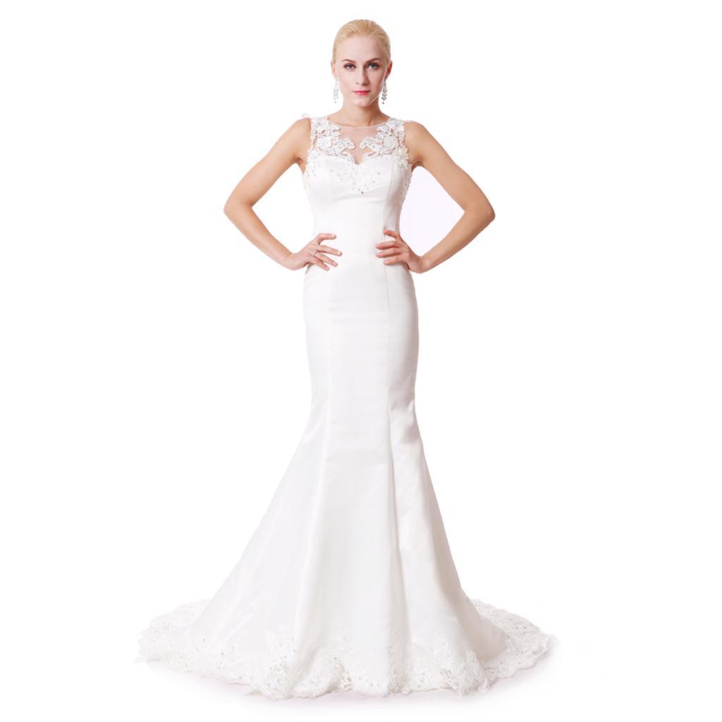 Buy 2016 new plus size wedding dress lace for Boat neck lace wedding dress