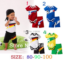 ONE SET of 2pcs (romper + shorts) baby SUIT boys SOCCER FOOTBALL France Russia Germany Brazil Sports World  Flags Dropshipping(China (Mainland))