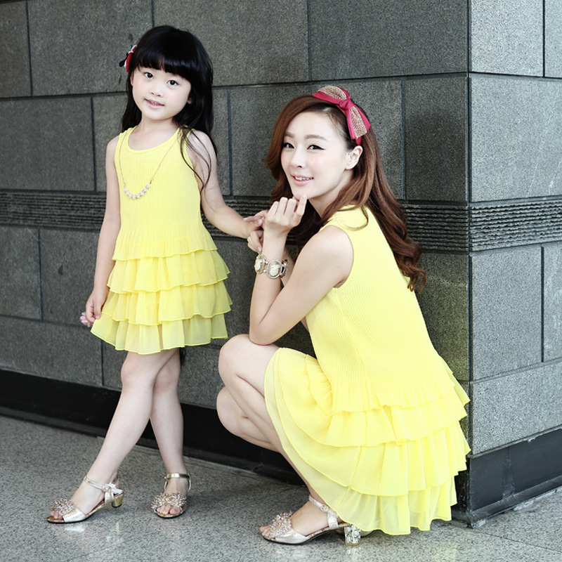 2014 summer family fashion dress clothes mother daughter pleated crumple cake chiffon sleeveless slim one-piece - style your life store