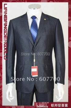 silver navy men's suits two single-breasted bussiness suit men's dress suits cotton (coat+pants)  shiny 100% wool FREE FAST SHIP