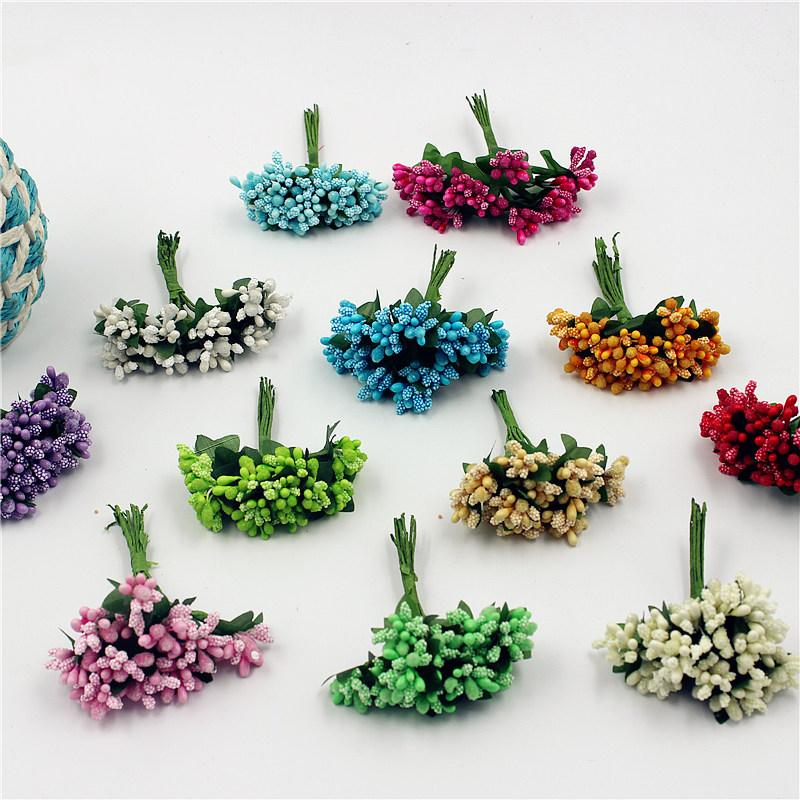 12pcs lot Mini Silk Gold Stamen Bud Artificial Flower Bouquet For Wedding Decoration DIY Wreath Gift