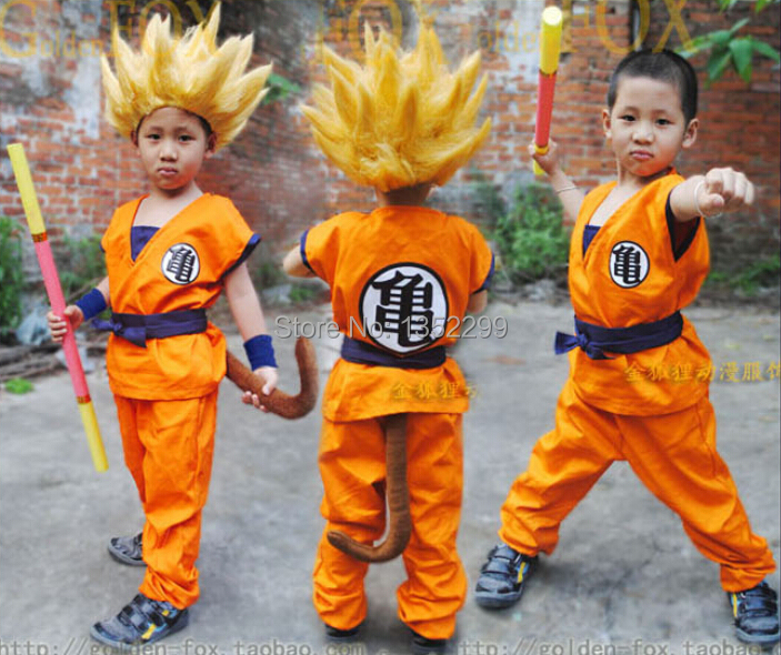 Free Shipping Anime Dragon Ball z Cosplay Goku Halloween Costume for Kids Set with Tops Pants Belt Wrist Tail High Quality(China (Mainland))