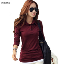 Spring Autumn Casual Polo Women 2016 New Long Sleeve Slim Polos Mujer Black White Red Tops Plus Size Lady Polo Shirt Femme A558(China (Mainland))
