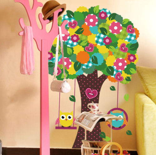 Giant Colourful Owls Swing Flower Tree Wall Stickers Baby Child Girls Room Decor(China (Mainland))