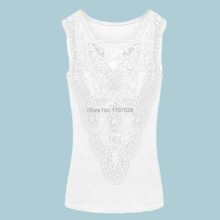 Women Tank Tops Lace Vest Stretch Bodycon Camis Crochet Blouse Scoop Neck Guipure Sleeveless Tops Ladies Bustier Girls Plus Size(China (Mainland))