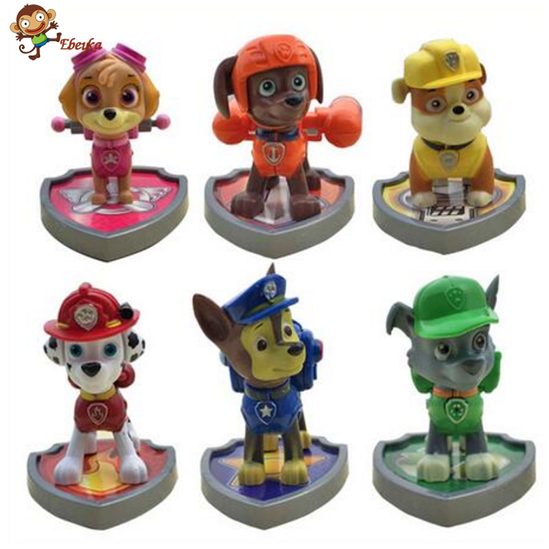 6/ set Puppy Patrol Canine Patrol Dog Toys With shield Russian Anime Doll Action Figures Car Toy Patrulla Gift for Child(China (Mainland))