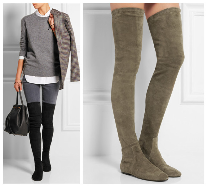 Over The Knee Boots Suede Flat - Yu Boots