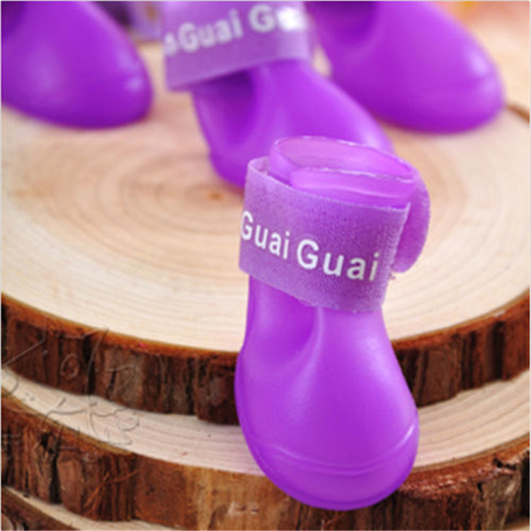 4Pcs/ Lot Summer Pet Dog Shoes Waterproof Rain Pet Shoes for Dog Puppy Rubber Boots Portable Durable Puppy Shoes Pet Products 5