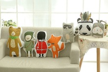 Free Shipping Hot Lovely Animals Fox Panda Bear Soldier Hunter Raccoon Cushion Pillow Toys Stuffed Plush Dolls Gifts For Kids