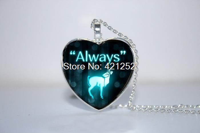 Always Pendant, Doe, Necklace Inspired by Harry Potter, Deer Necklace Glass Photo Cabochon Necklace(China (Mainland))