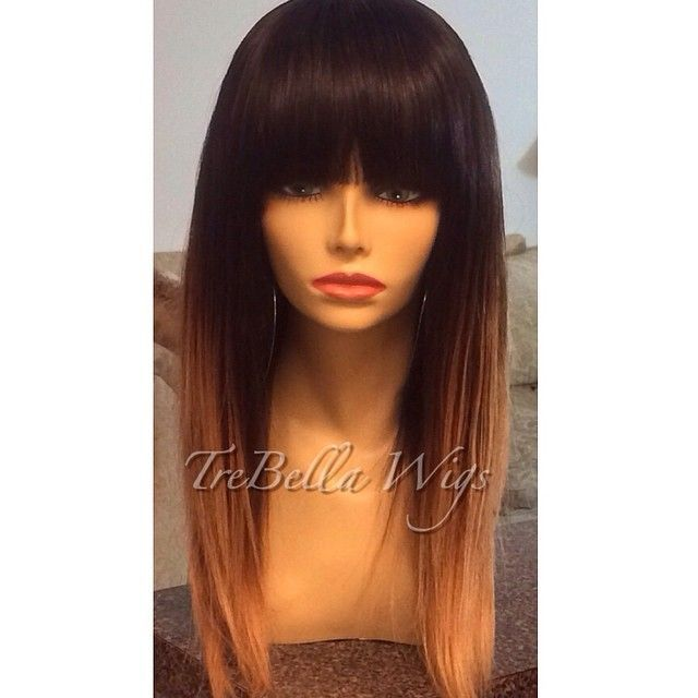 ombre brazilian human hair wigs straight glueless full lace two tone dark roots blonde virgin baby - Queen AM for store