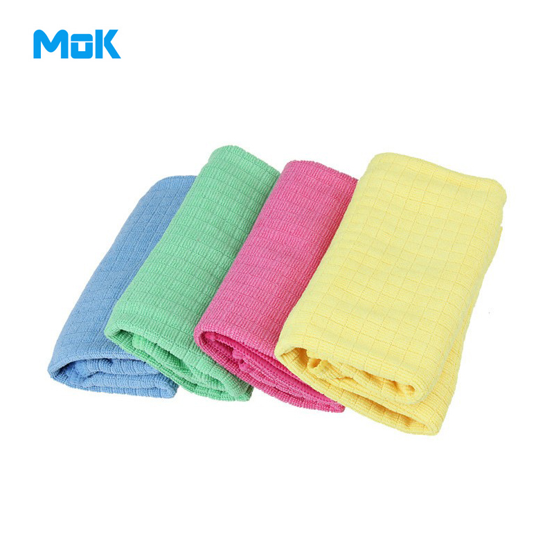 8 Pieces Small Lattice Solid Microfiber Cleaning Cloth 30x40cm Kitchen Scouring Pad Washing Towels Glass Cleaner Accessories(China (Mainland))