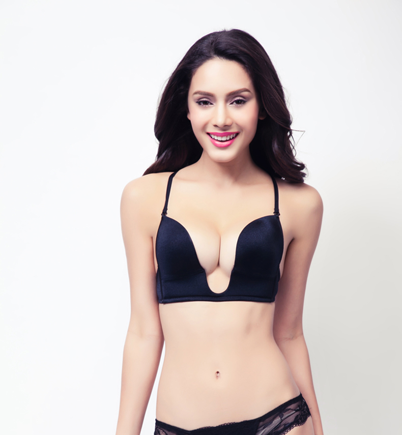 Brand Summer Style Invisible Racerback Push Up Bra Deep Plunge U Women Bras Sexy Seamless Strappy Bras For Women Bralette(China (Mainland))