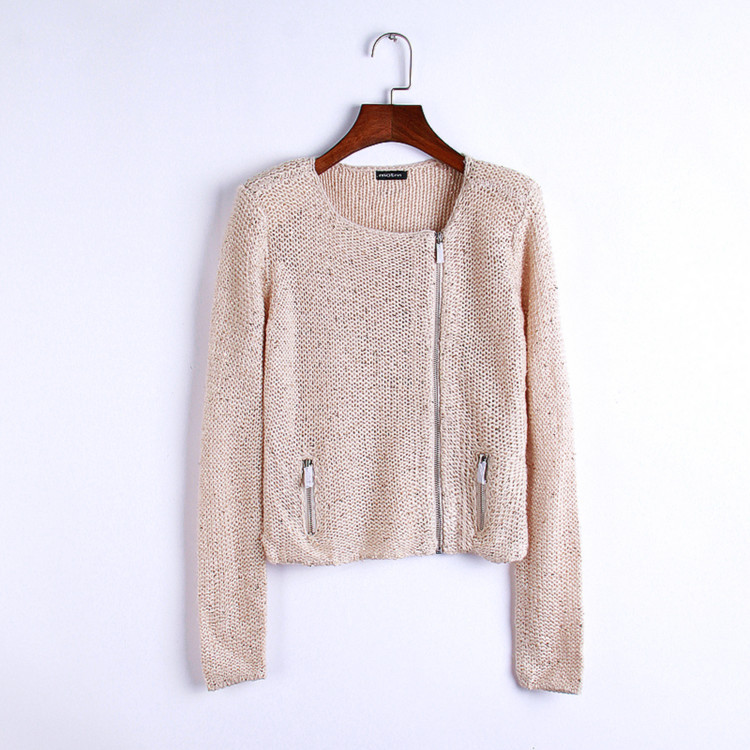 2015new autumn and winter Europe and America style women's round neck solid color sequined long-sleeve cardigans sweaters female(China (Mainland))
