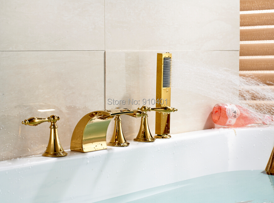 Здесь можно купить  Free Shipping Wholesale And Retail Promotion NEW Roman Waterfall Bathroom Tub Mixer Tap Faucet Golden Brass With Hand Shower  Дом и Сад