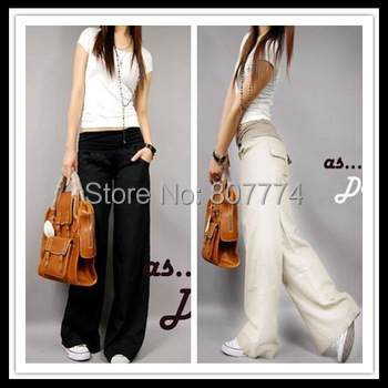 2015 Better fabric Spring linen pants elastic waist wide leg pants casual pants straight pants loose bell-bottom trousers #2013