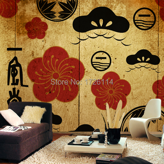 Japanese style murals photo murals papel de parede 3d for Mural coffee shop