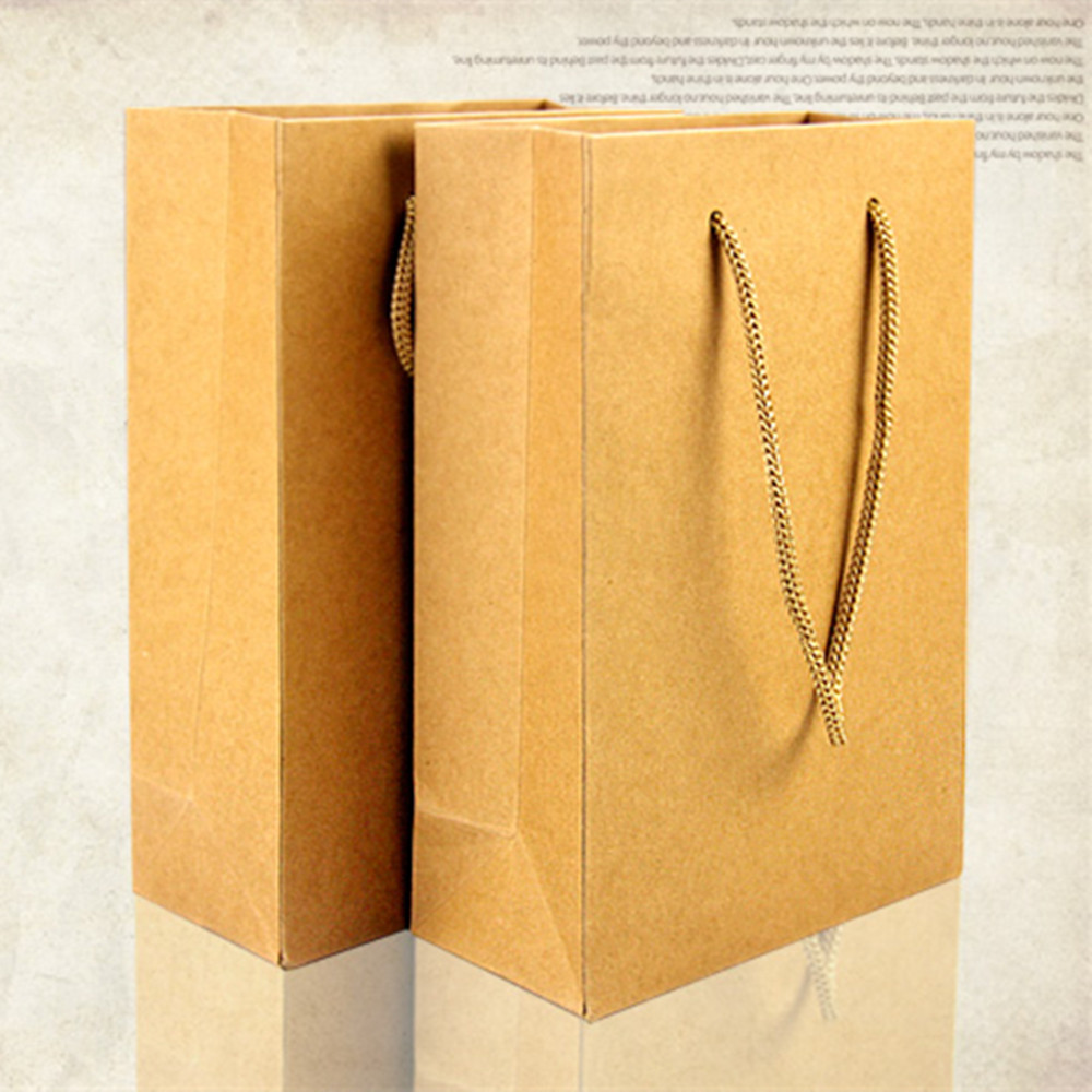 15*21+7cm Brown Kraft Paper Tote Bag Shopping Bag With Handle Recyclable Party Gift Pack Bag Pouch Retail Packaging For Boutique(China (Mainland))