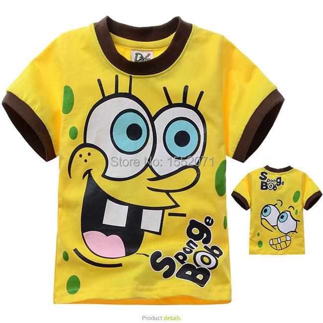 2014 summer children's cartoon T shirt cotton short-sleeved T-shirt Spongebob Kids boys and girls casual yellow free ship(China (Mainland))