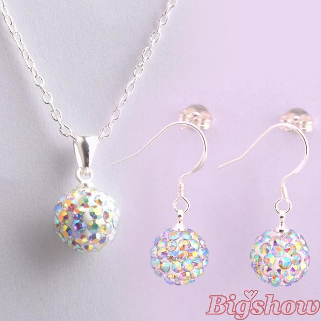 925 silver jewelry Hot sale 10mm CZ crystal shamballa set drop earrings pendant necklaces 24 colors