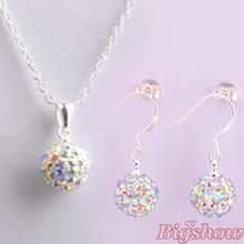 925 silver jewelry Hot sale 10mm CZ crystal shamballa set drop earrings & pendant necklaces more colors can be mixed