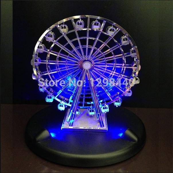 QUALITY new fashion 3d metal Models works Jigsaw Puzzs Children Toys gifts DIY 3D metal Puzzles&LED base(China (Mainland))