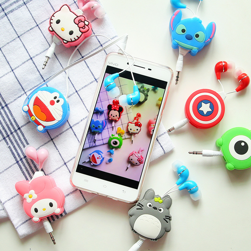 Lovely Mini in-ear 3.5mm Cartoon Earphone headphone headset earbuds retractable headphones For Samsung Android Mobile Phone(China (Mainland))